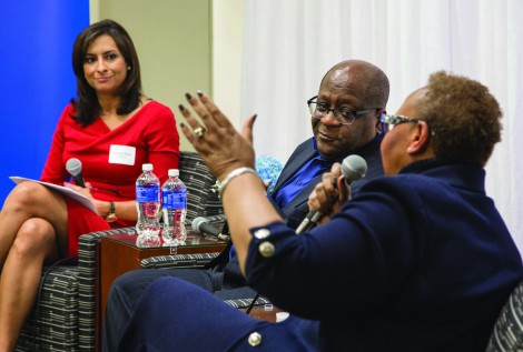 DePaul alumna and Chicago media personality Lourdes Duarte, left, leads a discussion with diversity experts Gregory Jones of United Airlines, center, and Patricia Sowell Harris of McDonald's in the DePaul Center. The Driehaus College of Business hosted a fireside chat Tuesday, Nov. 17, 2015, entitled ìBusiness and Business School Diversity. The event was part of The PhD Project and celebrated the Driehaus College of Businessí diversity of students and faculty. Several diversity officers with major corporations presented information about diversity in their companies, as well as an open discussion about diversity in the workplace. (DePaul University/Jamie Moncrief)
